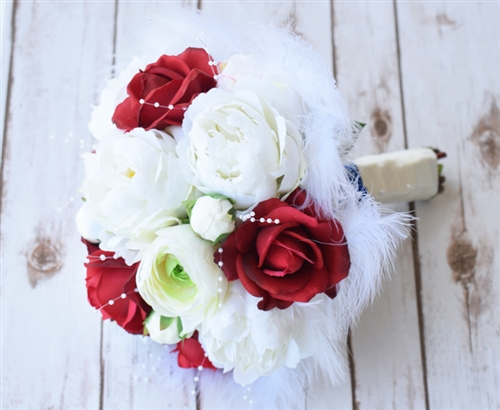 Natural touch red roses and silk off white peonies feather silk natural touch red roses and silk off white peonies feather silk wedding bouquet mightylinksfo