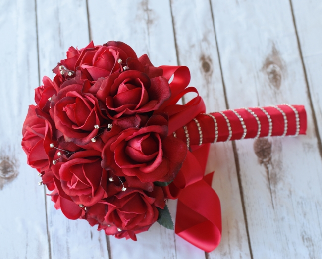 Red Roses Wedding Bouquets.Bling Bling Natural Touch Red Roses Bouquet Sparkles