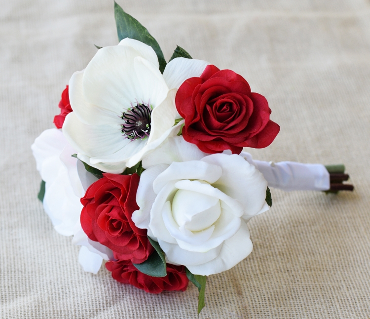 Natural touch anemone red and off white roses silk wedding bouquet mightylinksfo