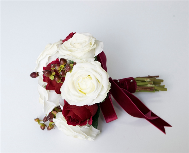 Realistic Silk Red Roses Bouquet With Real Touch Orchids