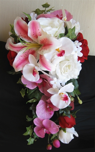 Red Amp Fuchsia Orchids Roses And Lilies Cascading Bouquet