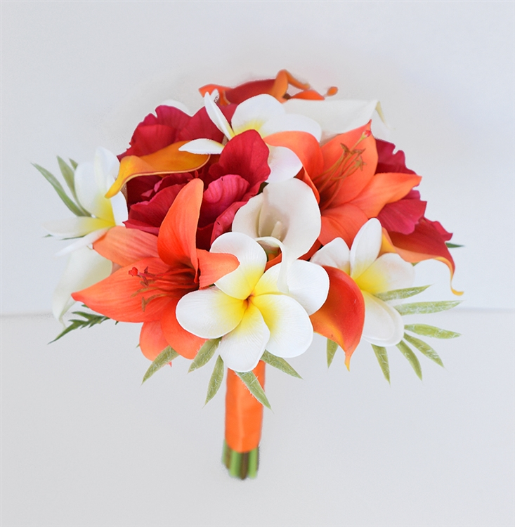 Orange Tropical Bouquet of Natural Touch Lilies Callas and