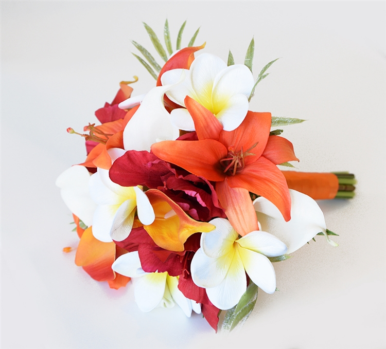 Orange tropical bouquet of natural touch lilies callas and orange tropical bouquet of natural touch lilies callas and plumerias silk wedding flowers mightylinksfo