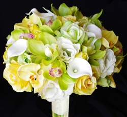 Yellow Natural Touch Roses with Real Touch Orchids