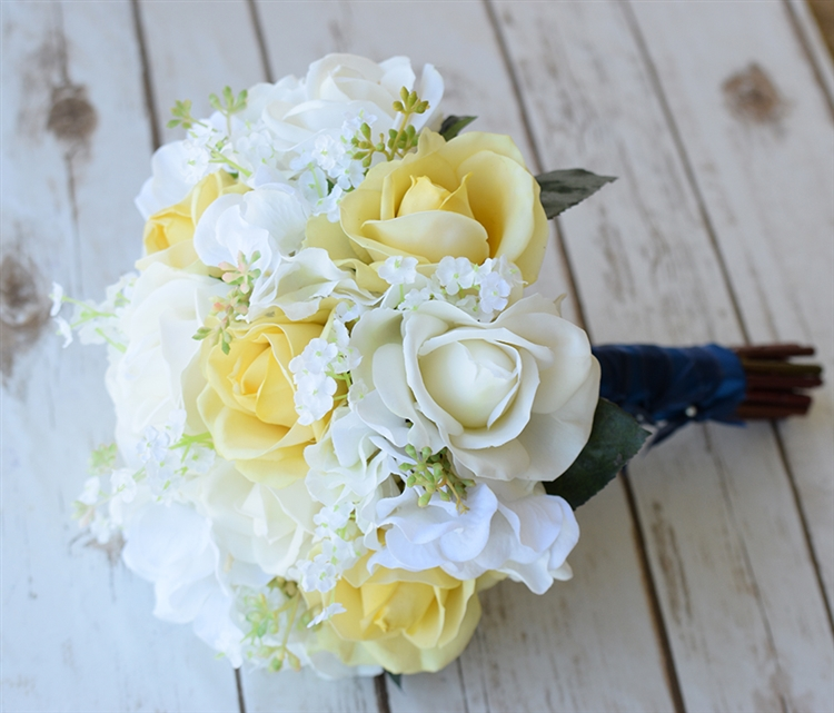 Wedding White And Yellow: Natural Touch Yellow Roses And Real Touch Orchids Bouquet