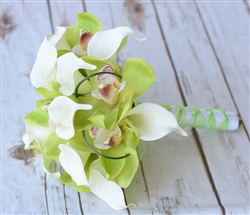 Natural Touch Green Orchids and Callas Bouquet