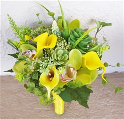Yellow Callas and Succulents Natural Touch Bouquet