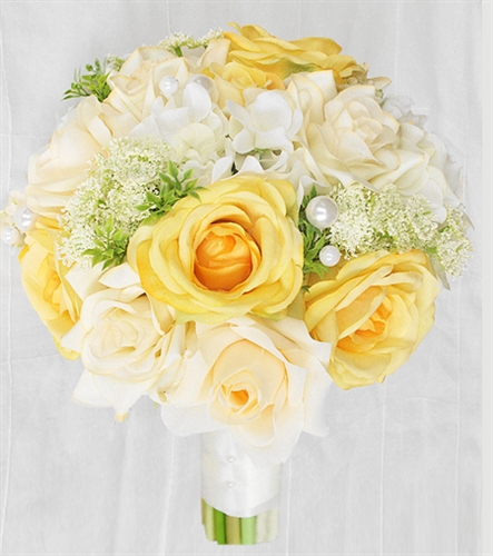 yellow roses off white hydrangeas and roses bouquet
