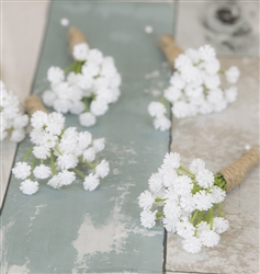 Perfect Rustic Boho Chic Baby's Breath Fillers Silk Wedding Boutonniere. Woodland Theme