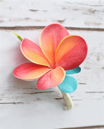 Real Touch Calla Lily and Plumeria Boutonniere in Any Color  - Tropical Silk Boutonniere