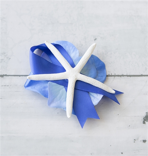 Starfish Hydrangea Beach Nautical Wedding Boutonniere - Seashell Wedding