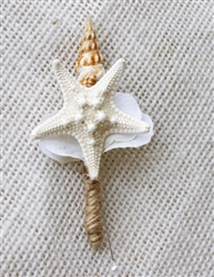 Starfish and Shell Hydrangea Beach Nautical Wedding Boutonniere - Seashell Wedding
