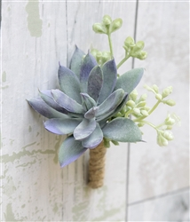 Real Touch Succulent Rustic Boho Silk Wedding Boutonniere in Any Color  - Elegant Silk Boutonniere