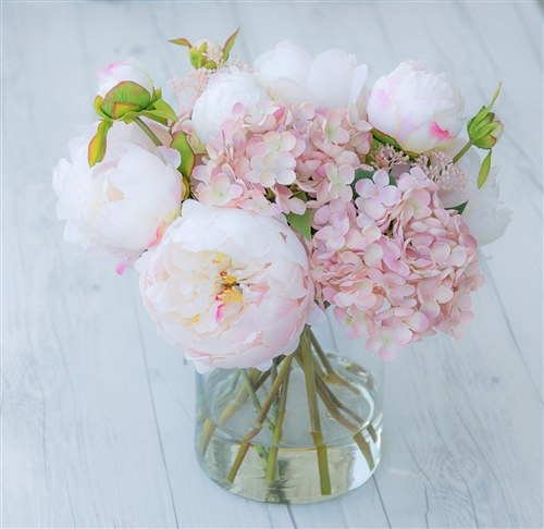 Blush Pink Hydrangeas and Peonies Arrangement Centerpiece - Your Color Choice