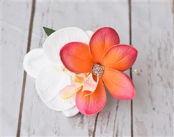 Real Touch Plumeria and Orchid Corsage in Any Color
