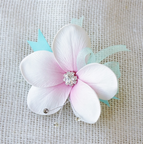 Real Touch Tropical Plumeria Corsage in Any Color