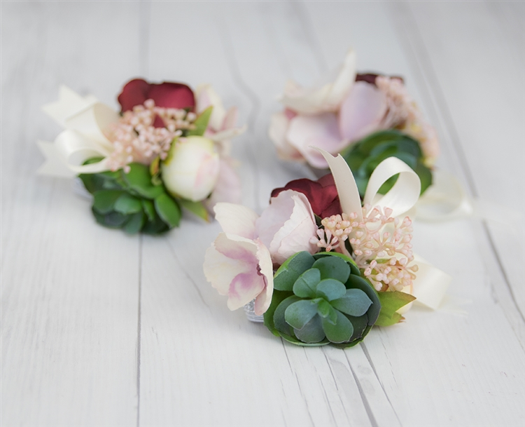 Real touch boho rustic succulent corsage alternative views mightylinksfo
