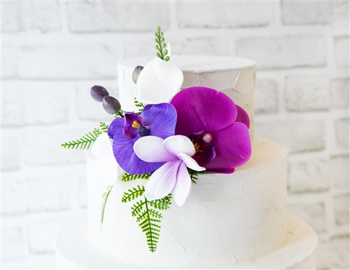 Natural Touch Plumeria & Orchids Cake Topper - Your Colors!