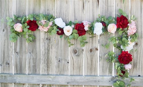 Roses and Peonies Boho Garden Greenery and Flower Mix Real Touch Silk Wedding Swag Arch