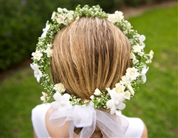 Flower Girl Wedding or Birthday Party White Head Wreath Hairpiece