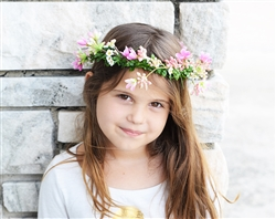 Flower Girl Head Wreath Hairpiece - Rustic Boho Flower Halo