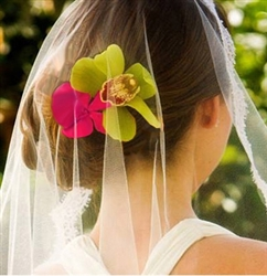 Real Touch Orchids Hairpiece Comb - Beach Wedding Tropical Flower Clip