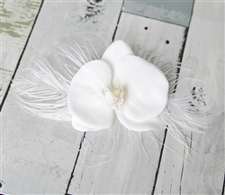 Real Touch Orchids Feathers Hairpiece Comb - Beach Wedding Tropical Flower Clip