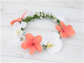 Orchids Plumeria Wedding Off White Head Wreath Bride or Flower Girls Crown.