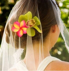 Beach Hair Flower, Natural Touch Orchid Plumeria Hairpiece