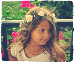 Rustic Flower Girl Rose Head Wreath Hairpiece