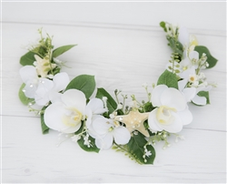 Orchids Starfish Wedding Off White Head Wreath Bride or Flower Girls Crown.