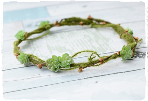 Flower Girl Head Wreath Succulent Hairpiece. Small Flowers and Moss Greens Halo.