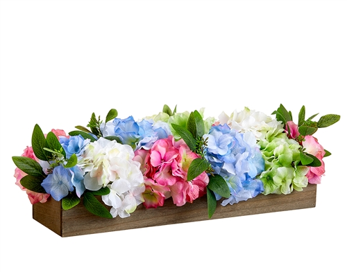 Hydrangeas Faux Long Arrangement Centerpiece - Your Colors!