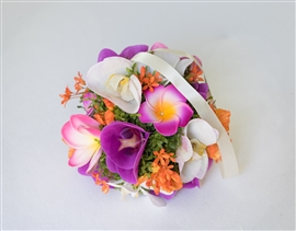 Flower Girl Orchids Plumerias Tropical Beach Wedding Pomander  - Your Colors!