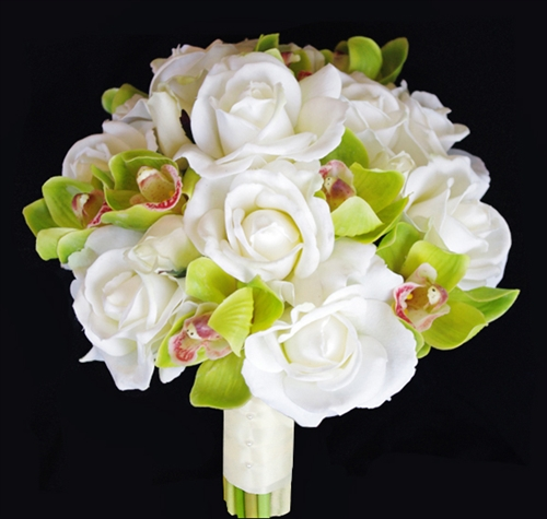 offwhite natural touch roses with real touch orchids