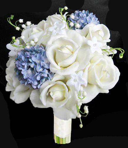 Natural Touch Open Off White And Blue Hydrangeas Bouquet