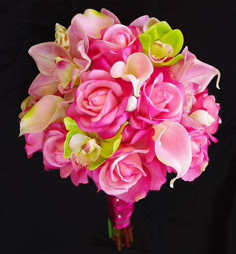 Natural Touch Off White Roses And Pink Orchids