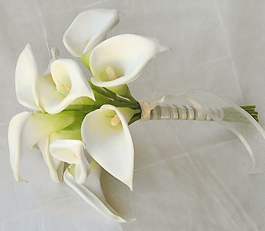 Silk Calla Lilies Bouquet In Ivory Or White Color