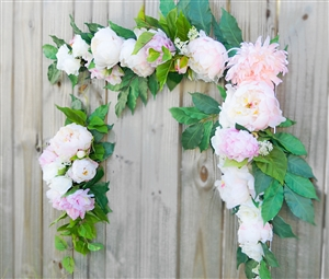 Roses and Peonies Boho Garden Corner Flower Mix Real Touch Silk Corner or Sign Wedding Swag Arch