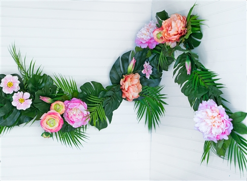 Tropical Palm Monstera Peonies Beach Real Touch Silk Wedding Swag Arch
