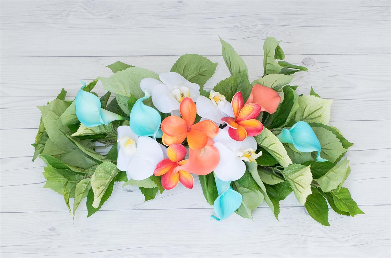 home decor silk floral arrangement floral decor tropical.htm tropical plumerias  callas and orchids beach real touch silk  tropical plumerias  callas and orchids