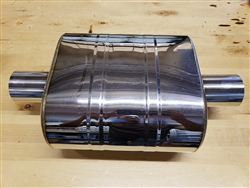 "Universal Oval Muffler, 2.5"" inlet x 2.5"" outlet (Center In - Center Out)"