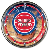 Detroit Pistons Clock Round Wall Style Chrome - Special Order