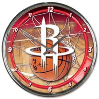 Houston Rockets Clock Round Wall Style Chrome