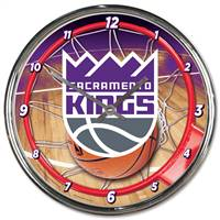 Sacramento Kings Clock Round Wall Style Chrome - Special Order