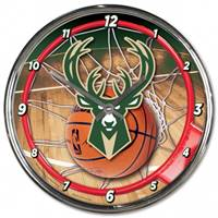 Milwaukee Bucks Clock Round Wall Style Chrome - Special Order