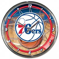 Philadelphia 76ers Clock Round Wall Style Chrome