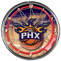 Phoenix Suns Clock Round Wall Style Chrome - Special Order