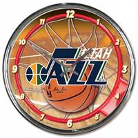 Utah Jazz Clock Round Wall Style Chrome - Special Order