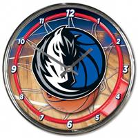 Dallas Mavericks Clock Round Wall Style Chrome - Special Order